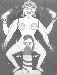 Tantric painting of a Yogini with sun and moon on her forehead, perhaps indicative of the unification of the male and female principles; two small lingams are complemented by two small vulvas in her hands. Her larger vulva is complemented by the upright lingam encircled by the coiled snake of kundalini symbolism, which in turn is balanced by the feminine lunar crescent. Gouache on paper, Rajasthan, 19th century.
