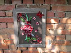 Paper Quilling Wall Art Picture Red Flower for wall by ivonabg