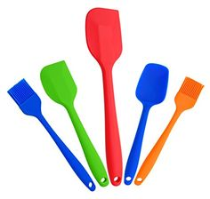 Leaton Premium Silicone Baking SetSilicone Kitchen Tools Silicone SpatulaBaking Supplies Grill BrushSpoon  Heat Resistant Cooking Utensils Set of 5 Baking Cooking BULE * You can get more details by clicking on the image.