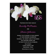 Floral Orchid Wedding Invitation with Monograms Custom Invites