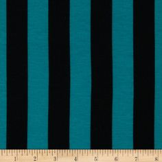 Soft Jersey Knit Mid Stripe Jade/Black from @fabricdotcom  This polyester jersey knit fabric has a soft cotton-like hand, a light drape and about 40% stretch across the grain. This versatile fabric is perfect for creating stylish tops, tanks, gathered skirts and fuller dresses with a lining.