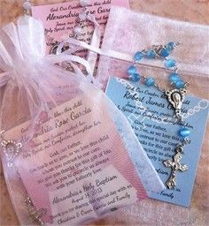 Baptism Favors Rosaries, Mini Rosaries Favors, Remembrance Cards