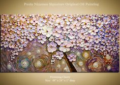 "Original Palette Knife Painting on heavy duty canvas Flowering Cherry by Paula Nizamas Ready to Hang 48"". $420.00, via Etsy."