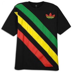 adidas rasta stripe t-shirt - reggaestyle Urban Outfits, Casual Outfits, Fashion Outfits, Rasta Shirt, Urban Fashion, Mens Fashion, Reggae Style, Rasta Colors, Adidas Outfit