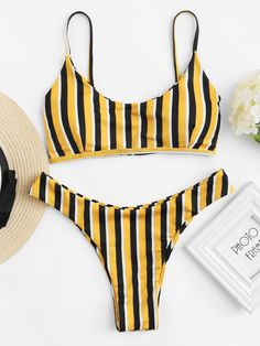 High Leg Striped Bikini Set -SheIn(Sheinside)
