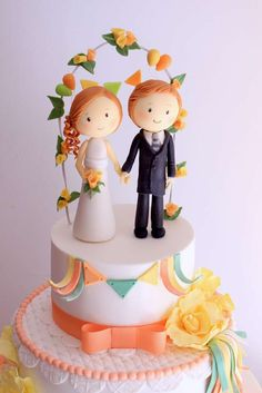 Romantic wedding cake topper!  See more party planning ideas at CatchMyParty.com!