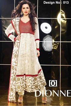 Color:Cream, Maroon Collection: Dionne vol 2 Top Fabric: Net georgette Bottom Fabric: Santoon Dupatta Fabric: Chiffon Season:Any Weight: 2 k.g Style: Semi-Stitch Anarkali Suit Occasion: Traditional Wear, Causal wear, All Festival Time to Ship:Ready To Ship