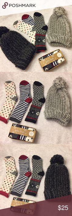 🌲Perfect stocking stuffers 3  pair of printed socks size 9-11 and matching hat . 🔹Set 1 - 3 pair socks with light grey hat  🔹Set 2 -3 pair of socks with dark grey hat .🌲 Perfect fir stocking suffer or just as a gift . Accessories Hosiery & Socks