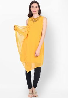 Yellow Embellished Kurta - Folklore Kurtas & kurtis for women | buy women kurtas and kurtis online in indium