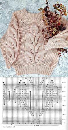 Sweater Knitting Patterns, Lace Knitting, Knitting Stitches, Knit Patterns, Stitch Patterns, Knitting Needles, Sewing Patterns, Pull Crochet, Knit Crochet