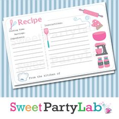 Utensil Recipe Cards Instant DownloadPDF Printable by PartyLab