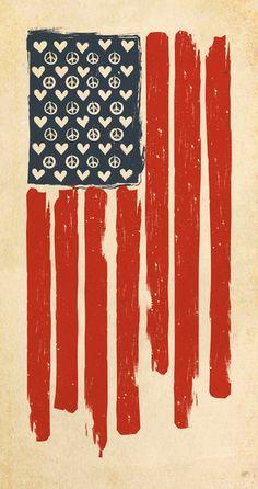 Love, Peace, USA Flag.
