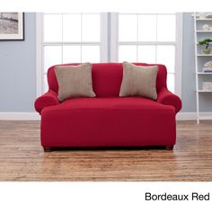 Form Fit Stretch Love Seat Cover ($42) ❤ liked on Polyvore featuring home, furniture, sofas, red, slip covers furniture, slipcover couch, eco friendly sofa, eco friendly furniture and red love seat