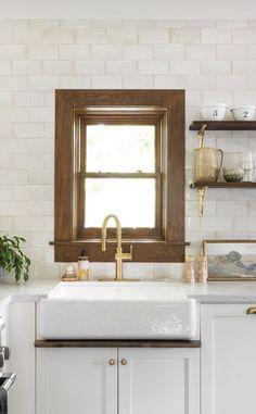 Farmhouse Windows, Room Interior, Double Vanity, Home Kitchens, Kitchen Decor, Sweet Home, Bathroom, Modern, Furniture