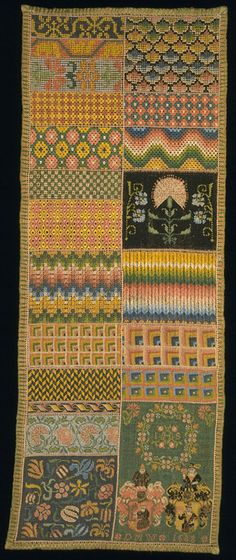 Sampler 1688 Linen, embroidered with silk in cross, tent, satin and rococo stitch, with eyelets Height 59 cm Width 22.9 cm 104-1880
