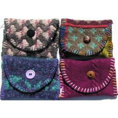 Little purse made from recycled wool sweaters