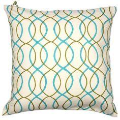 "Seema Krish Bombay Bliss Malabar Hill Pillow in Parrot - Peacock $143 18""x18"""