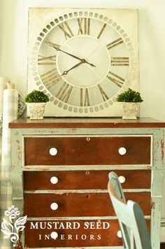 Painted clock by Miss Mustard Seed using milk paint