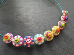 Rainbow+Button+Necklace+Spotty+Sputnik+Polkadot+Choker+Necklace+Rainbow
