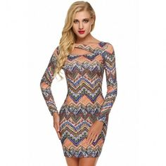 Women Sexy O-Neck Hollow Long Sleeve Print Bodycon Pencil Dress
