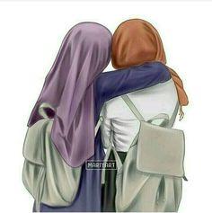 Shared pin anyone Friend Cartoon, Friend Anime, Best Friend Drawings, Girly Drawings, Cartoon Girl Images, Girl Cartoon, Cartoon Design, Hijabi Girl, Girl Hijab