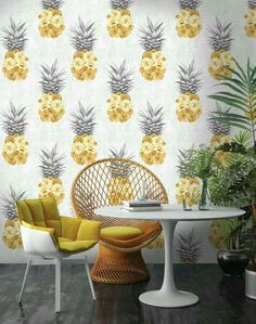 Our quirky Floral Pineapple Wallpaper would make a great interior feature on any wall. Designed by Woodchip & Magnolia, this playful wallcovering features spontaneous peony filled pineapples. Yellow Interior, Home Interior, Decor Interior Design, Interior Decorating, Interior Ideas, Pineapple Wallpaper, Tropical Wallpaper, Tropical Design, Tropical Decor