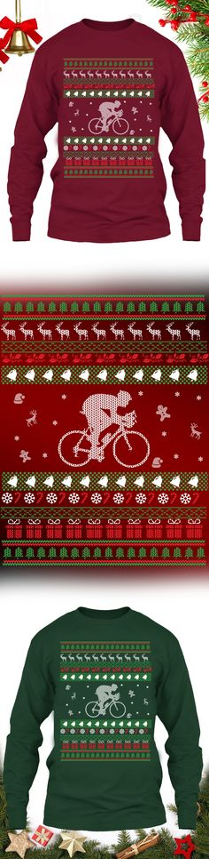 Cycling Christmas Sweater - Get this limited edition ugly Christmas Sweater just in time for the holidays! Only 2 days left for FREE SHIPPING, click to buy now!