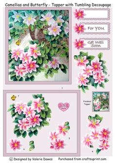 Camellias with Butterfly Card Topper with Tumbling Decoupage on Craftsuprint…