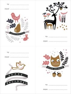 Adorable set of Christmas gift tags by Wee Gallery  for free! Print them on a sticker paper, cut them and stick them straight on to ...