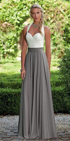 d85a9b4c12  83.99  Unique Chiffon Halter Neckline Full Length A-line Bridesmaid Dresses  With Pleats - dressilyme.co