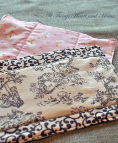 Burp cloths from cloth diapers and flannel fabric from All Things Heart and Home.