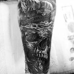 Men's Ship Sailing On Ocean Seas And Skull Tattoo