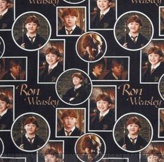 Harry Potter, RON Fabric / Harry Potter, RON on Black Digitally Printed Yardage / Camelot 2380215J / Fabric By The Yard & Fat Quarters by SewWhatQuiltShop on Etsy