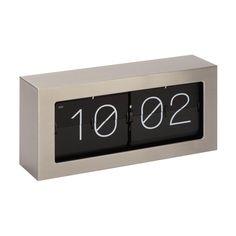 Urban Designs Aldo Black/Off-white Stainless Steel Clock with Digital Retro Flip Display (Black)