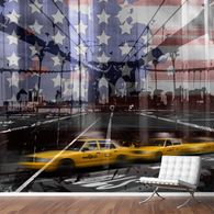 Discover two typically New York City views. An urban street scene with the famous Yellow Cabs and a unique citycape of Brooklyn Bridge. A modern and decorative composing with graphic details and pattern of the flag of the United Staates.