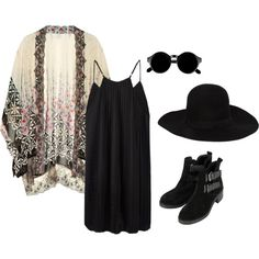 dark hippy by raeshellia on Polyvore featuring AllSaints, Ashley Pittman, Topshop, Dsquared2, ankle booties, cardigan, big hat, sunnies, boots and black dress