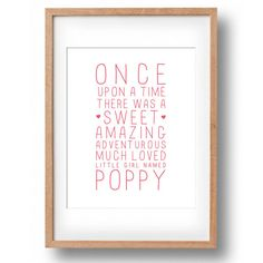 Personalised Name Print Once Upon A Time by poppylovestogroove
