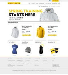 Great ecommerce ux design - livestrong store / clean n usability