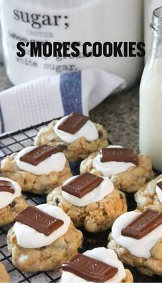 Smores Cookies, Cookie Desserts, Yummy Cookies, Just Desserts, Yummy Treats, Delicious Desserts, Sweet Treats, Dessert Recipes, Yummy Food
