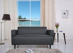 retro sofa azure 2-sitzer stoff graublau: amazon.de: küche