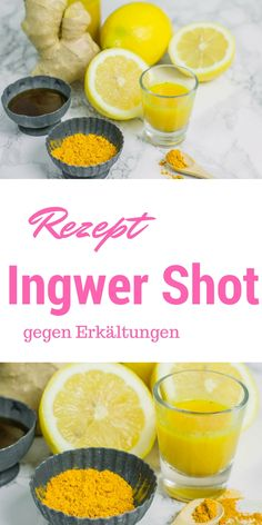 Ginger lemon shot and the cold is forgotten- Ingwer Zitronen Shot und die Erkältung ist vergessen This recipe for ginger shots is just incredible. The best natural cold killer. You don& need a juicer, just a blender and a handful of ingredients. Lemon Shots, Detox Breakfast, Fat Burning Detox Drinks, New Fruit, Nutrition, Crunches, Food Items, Fruits And Veggies, Smoothie Recipes