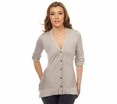 LOGO by Lori Goldstein Asymmetrical Hem Cardigan - Assorted Colors