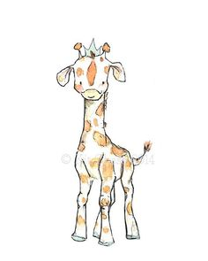 Children's Art  Royal Giraffe  Archival Print by trafalgarssquare