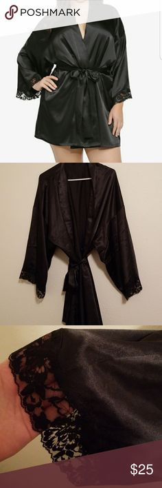 Black Robe Black satin robe with lace trim around sleeves. Never worn. Torrid size 4 equals to be a 26/28 torrid Intimates & Sleepwear Robes