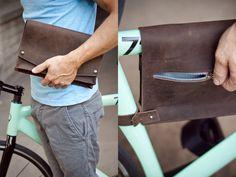 OMG. SO PRETTY!! Leather Bike Frame Bag - Chocolate Brown. $80.00, via Etsy.