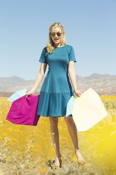 Shabby Apple Indigo Color Block Ponte Swing Dress Blue
