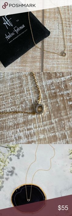 AF By ANDREA FOHRMAN Diamond Pendant This necklace measures 16″ with a 2″ extender. The metal is gold plated sterling silver and the tiny pendant circle is made with genuine diamonds!  Worn once.  Storage pouch included. AF by Andrea Fohrman Jewelry Necklaces