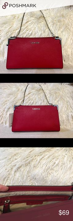 d3a96d5d7da59 Calvin Klein red Saffiano clutch Originally  148 Brand new Calvin Klein  Saffiano Clutch Metal strap and metal details Red zipper closure Calvin  Klein Bags ...