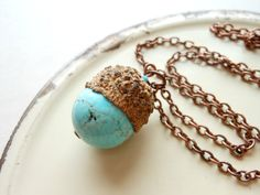 Turquoise Acorn Necklace  Acorn Jewelry by EternalEdenJewelry, $30.00