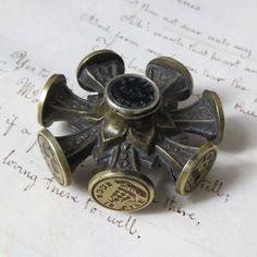 Antique Victorian Wax Seal Wheel with 9 Seals